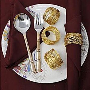 Gold Round Mesh Napkin Rings-Set of 12-New